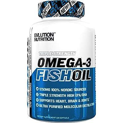 Evlution Nutrition Omega 3 Fish Oil 1250mg | HIGH EPA 450mg + DHA 300mg Triple Strength Burpless Capsules | 120 Pills