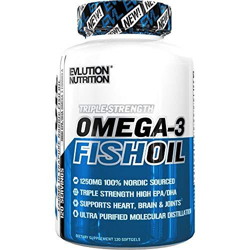 Evlution Nutrition Omega 3 Fischöl 1250mg | REICHHALTIG AN EPA 450mg + DHA 300mg dreifache stärkere Kapseln | 120 Pillen