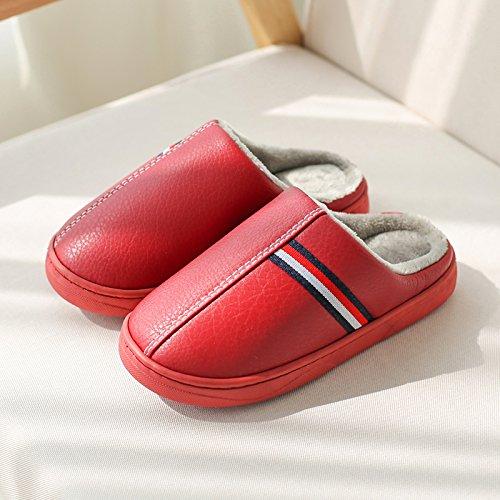 Doghaccd Pantoufles, Paire De Pantoufles De Coton Hommes Hiver Chaud Intérieur Anti-dérapant Maison Épais Salon Avec Pu Cuir Sandales Imperméables Chaussures Femme Red3