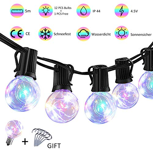 LED Lichterkette Bunt Innen Außen strombetrieben mehrfarbig G40 Globe Lichterketten 5M Wasserdicht Weihnachtsbeleuchtung für Garten Weihnachten Hochzeit Party (12 Birnen mit 1 Ersatzbirnen 6Stk Haken)