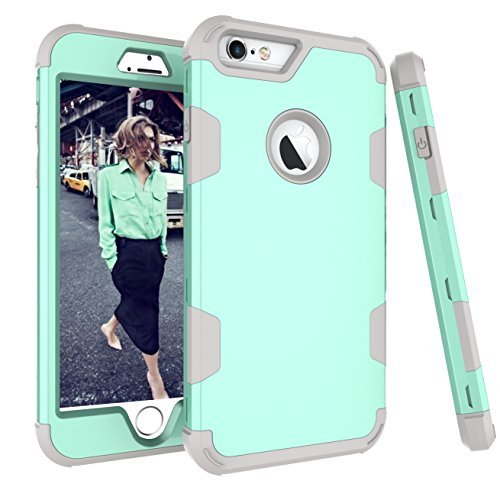 iPhone 6S Plus Fall, aoker iPhone 6Plus Case, Heavy Duty stoßfest [Perfect] Hard Kunststoff + weich Silikon Gummi Armor Defender Best Schutzhülle für iPhone 6S Plus und iPhone 6Plus, Mint Gray - Gelb Iphone Otterbox Sechs