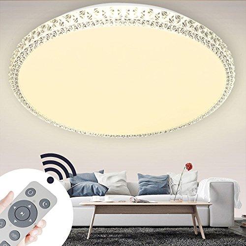 SZYSD LED kristall deckenleuchte Rund Deckenbeleuchtung Geschäft Modern Dekor Lampe (48W Dimmbare+Fernbedienung)