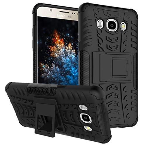 MRSTER Samsung J2 Prime Hülle, Outdoor Hard Cover Heavy Duty Dual Layer Armor Case Stoßfest Schutzhülle mit Ständer Handyhülle für Samsung Galaxy Grand Prime Plus. Hyun Black
