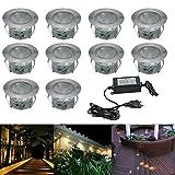 10x Spot LED Eclairage extérieur Encastrable Sol Terrasse Bois, IP67 DC12V 1W Avec Alimentation EU - Décor Pour Jardin Chemin Escalier Patio, Blanc Chaud