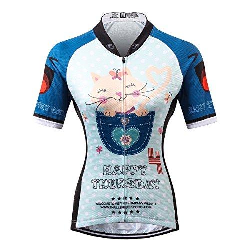 Thriller Rider Sports® Damen Happy Every Day Sport & Freizeit MTB Fahrradbekleidung Radtrikot X-Large
