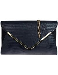 Girly Handbags - Pochette / Sac à main de soirée / mariage - Femme - Noir effet peau de crocodile / serpent