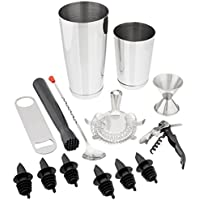 Tiger Chef 14 Piece Stainless Steel Bar Set & Cocktail Making Set Includes Bar Tools &