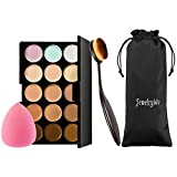 JewelryWe 15 Farben Concealer Make-up-Palette Contouring Palette und Cream Contour kit mit Makeup Blender und Pinsel Brush