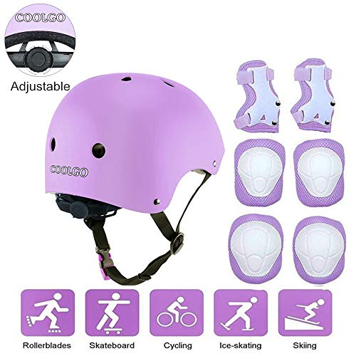COOLGO Kids Skateboard Helmet Protective Gear Set,7 in 1 Adjustable Knee Elbow Pads Wrist Guards Toddler Protection Safety Scooter Skating Bike (Purple)