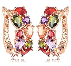 Yellow Chimes Sparkling Colors Flowerets Vine Swiss Cubic Zirconia 18K Rose Gold Plated Clip-On Earrings for Women