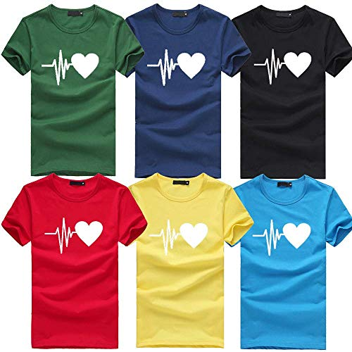 Damen T Shirt, CixNy Bluse Damen Kurzarm Sommer Mode Locker Ärmelloses Herz Drucken Lässig O Hals Oberteil Tops (6-Weiß, ()