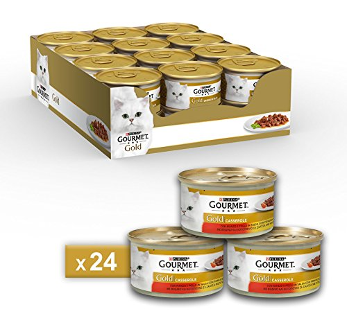 Gourmet Gold Casserole for the Cat, with Beef and Chicken in Salsa with Tomato, 85g-Pack of 24