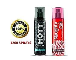Hott AQUA & Naughty Girl FASHION Perfume Combo For Couple (1200 Sprays Each)