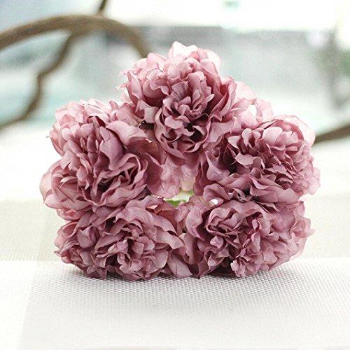 Longra Wohnaccessoires & Deko Kunstblumen Künstliche Seide Kunstblumen Pfingstrose Blumen Hochzeit Bouquet Braut Hortensie Dekor (E)