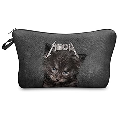 Pen Pencil Case Organiser Wallet Coins Pouch Travel Zipper Purse Fully Printed 20 Designs (MEOW