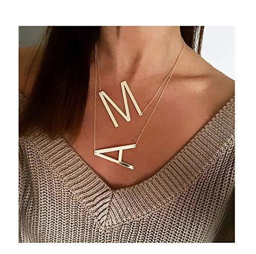 Minimalistische Halsketten mit Initialenanhänger für Damen, Rotgold, Silber, 26 A-Z Rose Gold F - Armband Organizer Loom