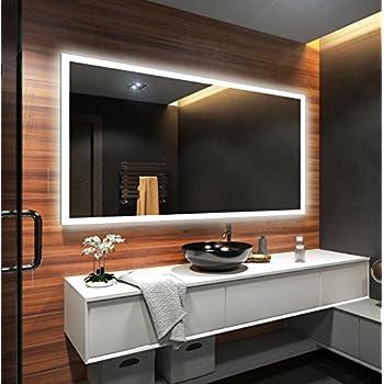 Beau miroir salle de bain lumineux led interrupteur - Miroir salle de bain lumineux avec prise de courant ...