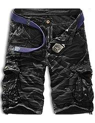 Mochoose Homme Pantalons Courts Coton de L'été Vintage Cargo Travail Casual Camouflage Shorts Multi Pockets Sport et Loisir