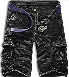 Mochoose Homme Pantalons Courts Coton de L'été Vintage Cargo Travail Casual Camouflage Shorts Multi Pockets Sport et Loisir(Noir Blanc Camouflage,36)