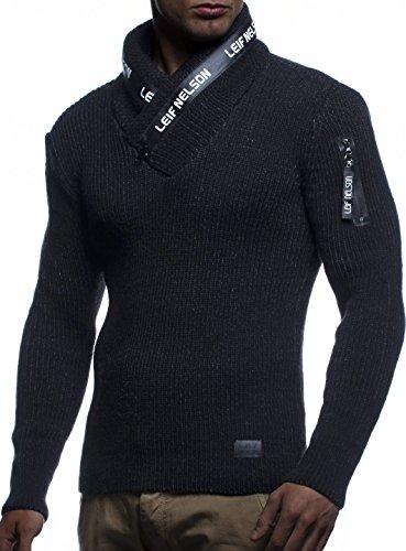 LEIF NELSON Herren Hoodie Cargo Stil Pullover Strickpullover Sweatshirt Sweater Pulli Winterpullover LN5460; Grš§e XL, Schwarz-Anthrazit (Cargo Stil, Jeans)