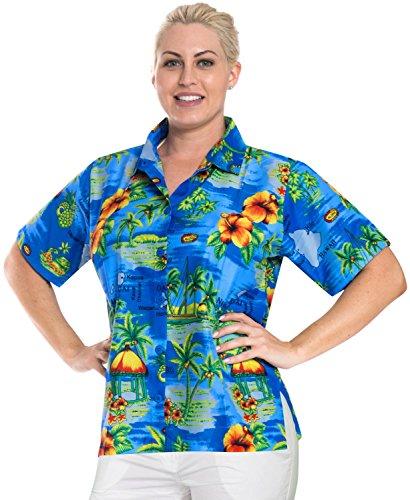 hawaiische Abnutzungshemd Bademoden oben Kragen k hlen Frauen mit kurzen  rmeln  Taste gedr ckt Damen Blau