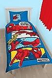 Juego de edredón de Marbel con diseño de Spiderman'Cabeza de telaraña', tamaño Individual, diseño con Estampado de Gran tamaño