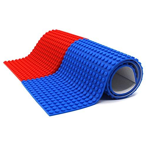 Cinta autoadhesiva del bloque de edificio del silicón reutilizable, compatible con la construcción de la colección de Lego, juguetes educativos de la imaginación de Inspire, 16 espárragos (Amplio-Rojo + Azul)