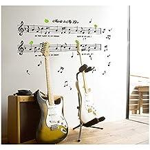 Tatouages / Stickers / Autocollants Muraux Vinyle Top Qualité Adhésifs Détachables Pour Murs de Chambres Avec Motifs de Portée et Notes Musicales & Citation / Texte Par VAGA