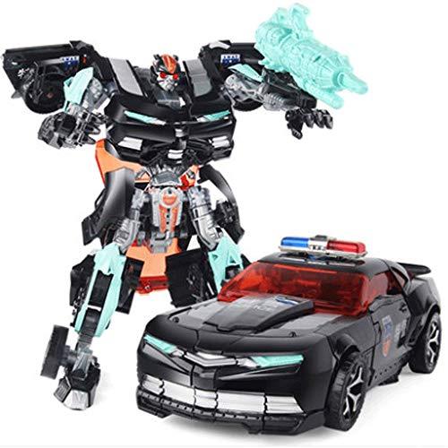 Mopoq Verwandlung von Spielzeug Kinder Puzzle schwarz Polizeiwagen Auto Mann Roboter Modell Kind Junge Geschenke können manuell verwandelt werden Kugel Verformung Dual Mode Urlaub Geburtstagsgeschenk Dual-kugel