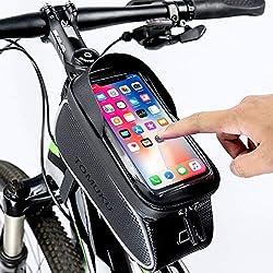Tomuku Sacoche Vélo Téléphone Etanche, Support Téléphone Cadre Top Tube Sacoche Cadre VTT pour Téléphone, Écran Tactile Sensible, Pochette Velo Guidon Portable pour Smartphone sous 6,3 Pouces