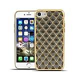 HULI Diamond Case Hülle Schwarz für Apple iPhone 7/8 Smartphone - Diamant Handyhülle aus TPU Silikon - Luxus Schutzhülle - sicherer Schutz Wabe Kaleidoskop