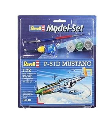 Revell Modellbausatz Flugzeug 1:72 - P-51D Mustang im Maßstab 1:72, Level 3, originalgetreue Nachbildung mit vielen Details, , Model Set mit Basiszubehör, 64148 von Revell