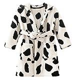 DELEY Unisex Kinder Mädchen Jungen Kapuzen-Bademantel Morgenmantel Weiches Coral-Fleece Nachtwäsche Warm Tier Pyjamas Kuh Größe