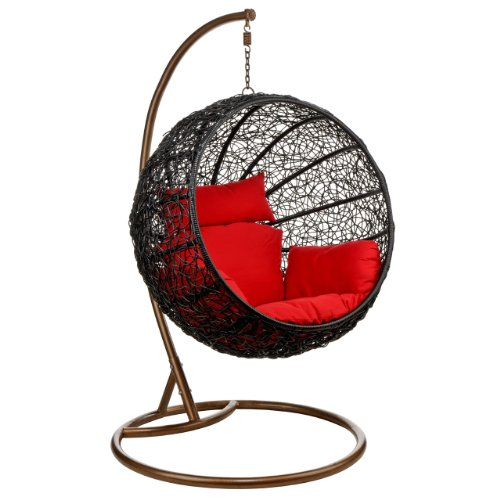 Shri Sai Outdoor Furniture Rattan & Wicker Hanging Swing (Brown)