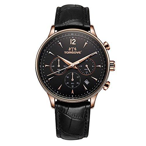 ORIGINAL TORGOVE® Chronograph Armbanduhr Leder Herren (Schwarz/Rose)