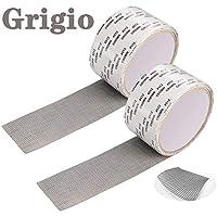 2 cintas para reparar mosquiteras, cinta adhesiva de fibra de vidrio para ventanas, insectos, 5 cm x 200 cm (gris)