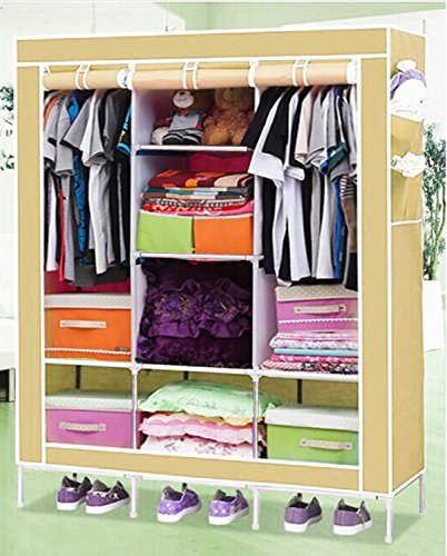 Everything Imported 4.1 feet (Light Grey) Folding Wardrobe Cupboard Almirah...