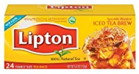 Lipton Black Tea, Family Size Tea Bags,Iced Tea Brew, 24-Count Boxes (Pack of 12)