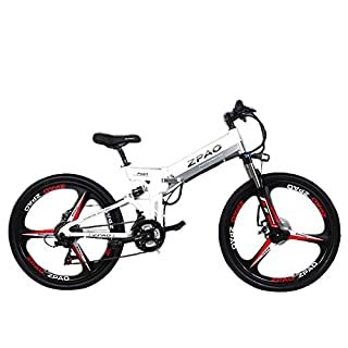 GTYW 26 Inch Electric Folding Bicycle Mountain Bike Adult Bike Electric Lithium Adult Folding Electric Mini Motorcycle 90km Battery Life,White-180*102*65cm