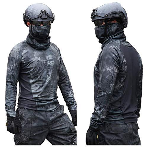 XXHDYR Camouflage-Anzug Angeln im Freien Jagdvogelbeobachtung langärmeliger Rundhalsausschnitt taktisches dünnes T-Shirt, das Hemdjacke tief Schwert Dünne Hose Tarnen (Color : Desert, Size : XXL) -