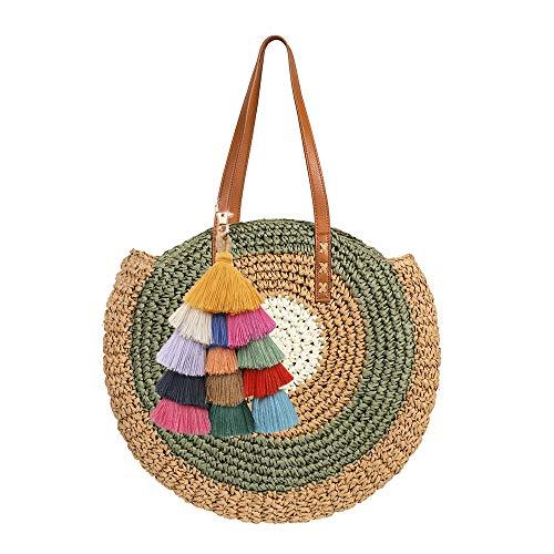 Peng Sheng Runde Stroh Strandtasche Quaste Handgemachte Rattan Woven Straw Handtasche Sommer-Strandtasche im Freien Strand -
