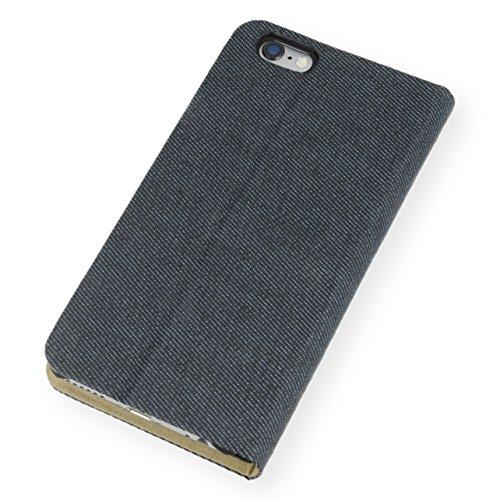 QIOTTI >              Apple iPhone 6 und iPhone 6S (4,7&quot;)              < incl. PANZERGLAS H9 HD+ Booklet Wallet Case Hülle Premium Tasche aus echtem Kalbsleder mit KARTENFÄCHER und STANDFUNKTION. CARRIER SLIM KOLLEKTION in DEN DENIM