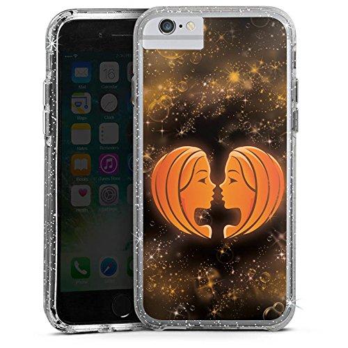 Apple iPhone 8 Bumper Hülle Bumper Case Glitzer Hülle Sternzeichen Zwillinge The Twins Bumper Case Glitzer silber