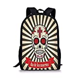 School Bags Day of The Dead,Floral Design Sugar Skull with Religious Cross on Sunburst Pattern Decorative,Grey Beige and Red for Boys&Girls Mens Sport Daypack
