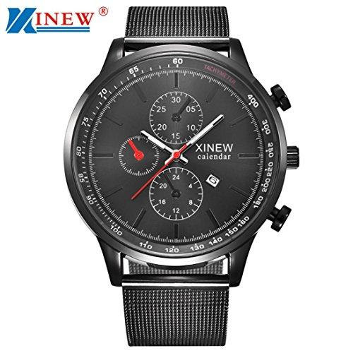 Sansee Mens Quarz Datum Gunmetal Sport Edelstahl Luxus Armbanduhr (schwarz) (Handschuh Gunmetal-schwarz)