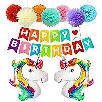 Tumao Decoraciones de Fiesta de Cumpleaños Feliz Suministros con Globos de Unicornio Banner de Cumpleaños y Flores de Bola de Papel de Arco Iris, Gran Regalo Para Niños y Amigo