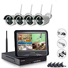 EDSSZ® 4 canali 720P Wireless Camera System IP facile accesso remoto, 10.1 pollici NVR WIFI dello schermo LCD con 4 IR di visione notturna, coperta esterna impermeabile EDS-WIFIKITLCD04-720P-IT