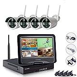 EDSSZ® 4 canali 720P Wireless Camera System IP facile accesso remoto, 10.1 pollici NVR WIFI dello schermo LCD con 4 IR di visione notturna, coperta esterna impermeabile EDS-WIFIKITLCD04-720P-IT immagine