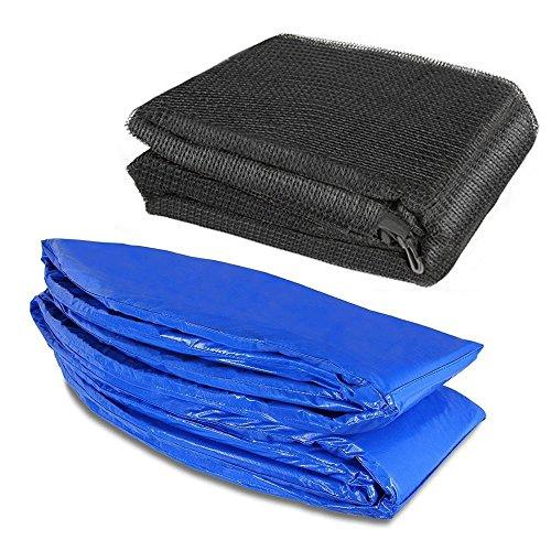 Trampolinzubehör Set für Trampolin 244cm-6Stangen beinhaltet: 180cm Höhe Ersatznetz Sicherheitsnetz Trampolinnetz + blau PVC - UV beständige Federabdeckung Randabdeckung
