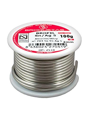 Brofil – Pack de 5 carretes estaño soldar (2 mm, 100 g)